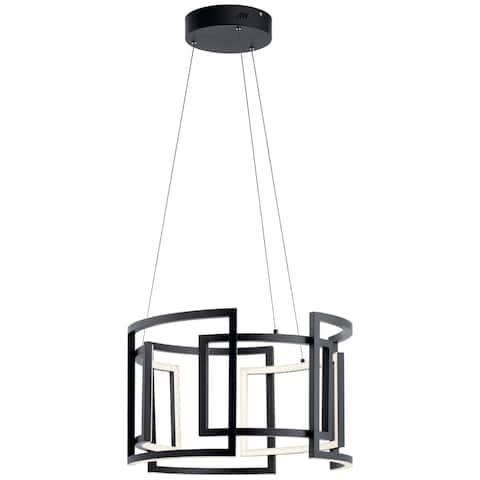 Elan Melko Integrated LED Black Drum Pendant