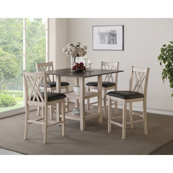 Paige Creme And Brown 5 Piece Counter Dining Table Set