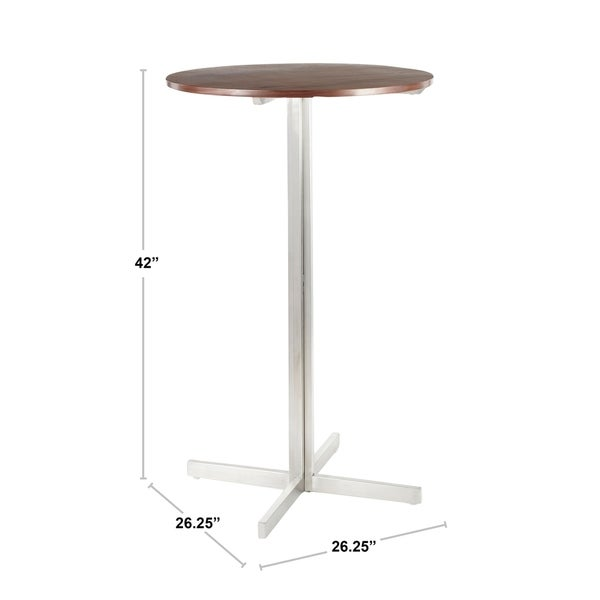 Silver Orchid La Plante Contemporary Round Bar Table - N/A