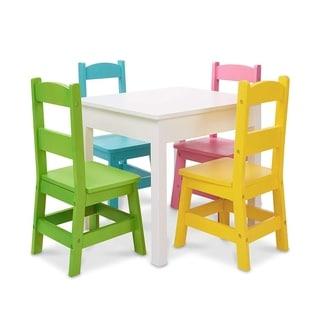 Shop Juvenile Linen White Table With Four Chairs Set