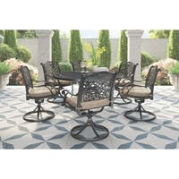 Rose View 7-Piece Outdoor Dining Set - 6 Swivel Chairs & Round Dining Table - Brown