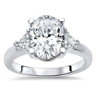 2 30ct TGW Oval Moissanite And Trillion 3 Stone Diamond Engagement Ring 14k White Gold