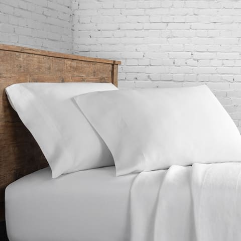 Hotel Picked White Crisp Percale Cotton Sheet and Pillowcase