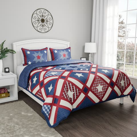 3-Piece Quilt Set - Hypoallergenic Polyester Microfiber Patriotic Americana Print Blanket with Sham by Windsor Home