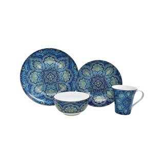222 Fifth Augustina Blue 16 Piece Dinnerware Set, Service for 4