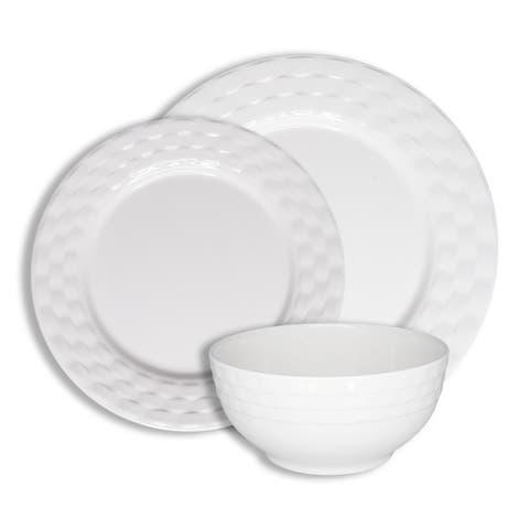 222 Fifth Basket Weave White 12 Piece Melamine Dinnerware Set, Service for 4