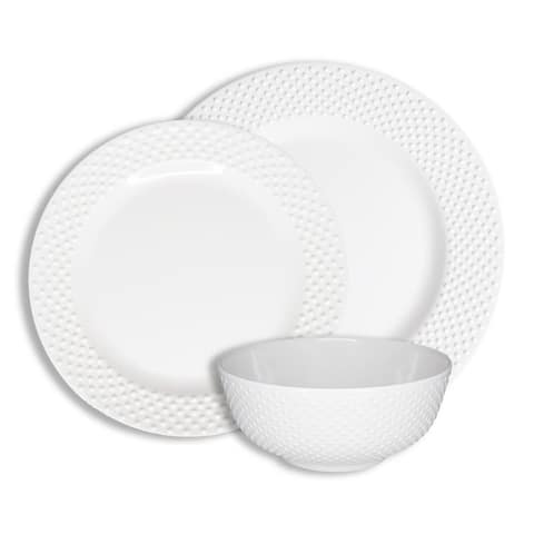 222 Fifth Solid Swiss Dots White 12 Piece Melamine Dinnerware Set, Service for 4