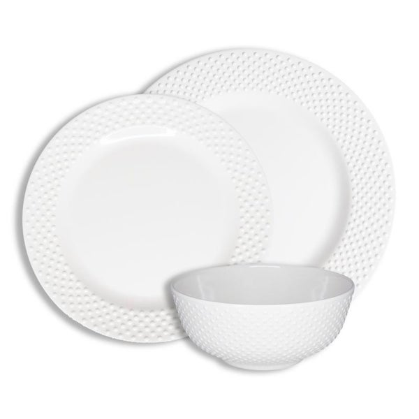 222 Fifth Solid Swiss Dots 12-Piece Melamine Dinnerware Set, White. Opens flyout.