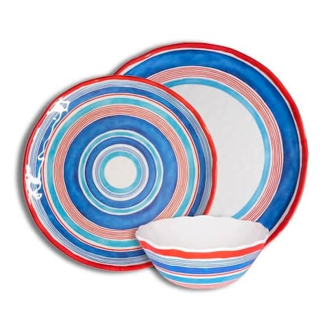 222 Fifth Ocean Stripes Mixed 12 Piece Melamine Dinnerware Set, Service for 4