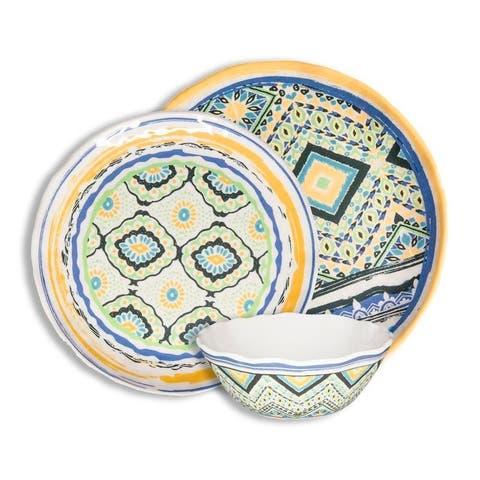 222 Fifth Porto Santo Mixed 12 Piece Melamine Dinnerware Set, Service for 4