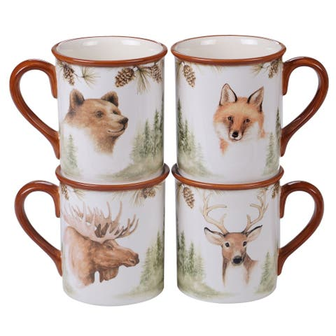 Certified International Mountain Retreat Mugs, Set of 4