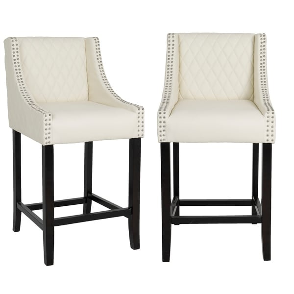 """Shauhin Quilted Leather Upholstered 39"""" Bar Stool Chair, Accent Nail Trim Barstool Set of 2"""