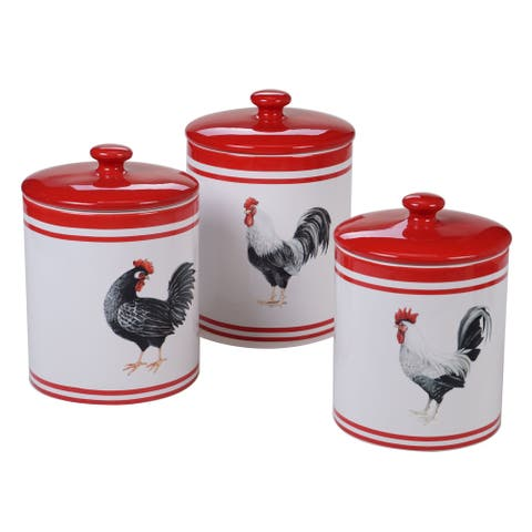 Certified International Homestead Rooster Canisters, Set of 3