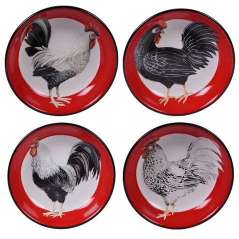 Certified International Homestead Rooster Soup/Pasta Bowls, Set of 4