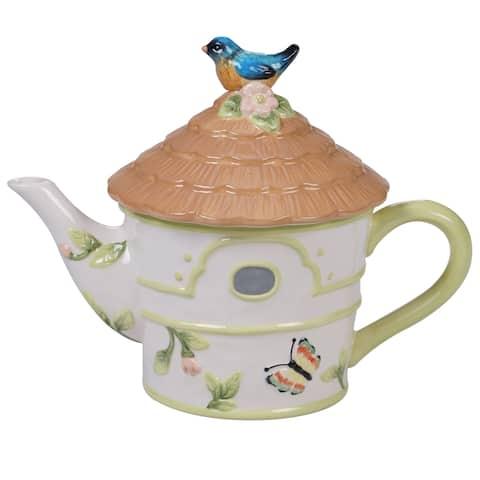 Certified International Spring Meadows 3-D Bird House Teapot