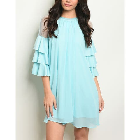 JED Women's Mesh Sleeve Ruffled Tunic Dress