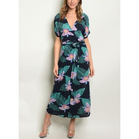 JED Women's Short Sleeve Midi Dress with Waist Tie