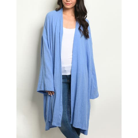JED Women's Relax Fit Cotton Long Line Cardigan