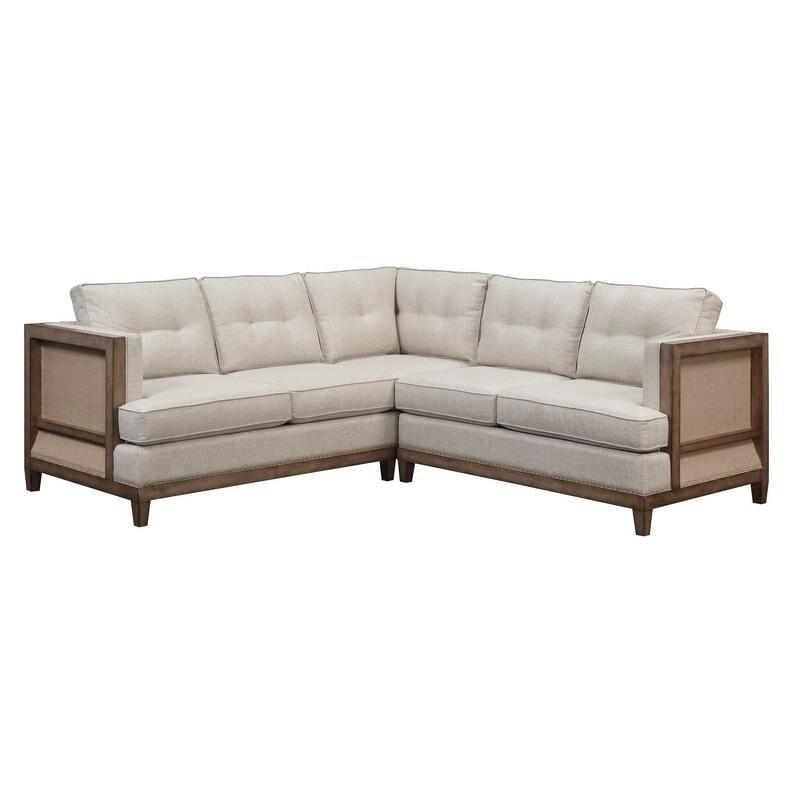 Swell Arlo Tufted Beige Linen Chesterfield Sectional Sofa Inzonedesignstudio Interior Chair Design Inzonedesignstudiocom