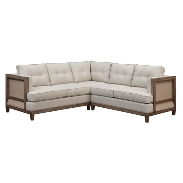 Arlo Tufted Beige Linen Chesterfield Sectional Sofa