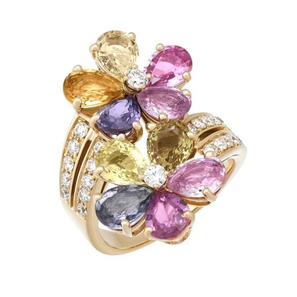 0789f0970 Shop Bvlgari 18K Yellow Gold Flower Diamond Ring - Free Shipping Today -  Overstock - 27129614
