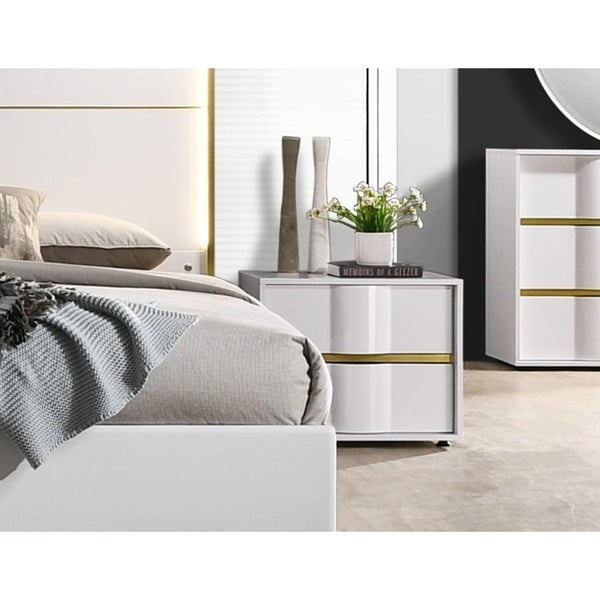 Best Master Furniture White with Gold 2 Drawer Nightstand