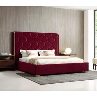 Blauvelt Queen Size Red Velvet Upholstered Platform Bed with Gold Accents
