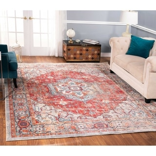 The Curated Nomad Nob Hill Distressed Red/ Beige Medallion Rug