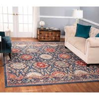 The Curated Nomad Nob Hill Distressed Blue/ Red Floral Rug