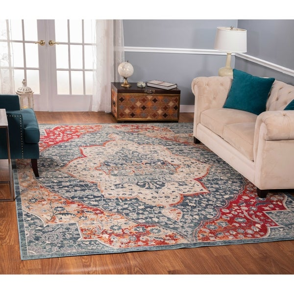 The Curated Nomad Nob Hill Distressed Blue/ Red Medallion Rug