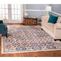The Curated Nomad Nob Hill Distressed Ivory/ Blue Oriental Rug