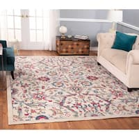 The Curated Nomad Nob Hill Distressed Beige/ Blue Floral Rug