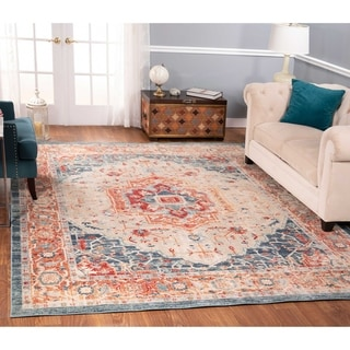The Curated Nomad Nob Hill Distressed Beige/ Blue Oriental Rug