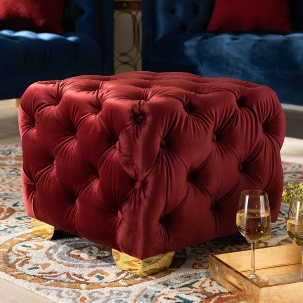 Glam Velvet Ottoman With Gold Legs by Baxton Studio