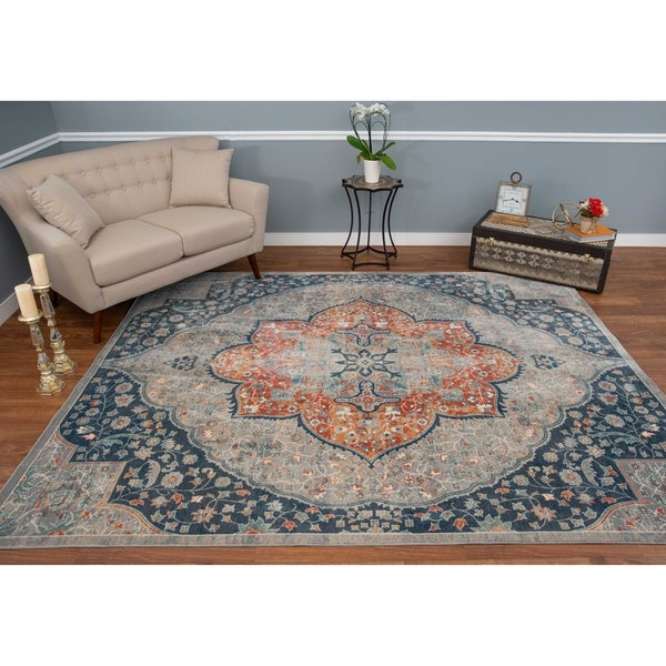 The Curated Nomad Nob Hill Distressed Grey/ Blue Medallion Rug