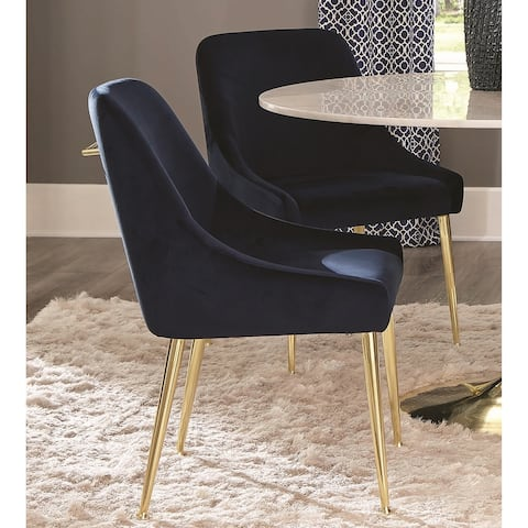 Modern Classic Design Blue Velvet and Brass Dining Chairs (Set of 2)