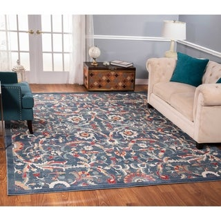 The Curated Nomad Nob Hill Distressed Blue/ Ivory Rug