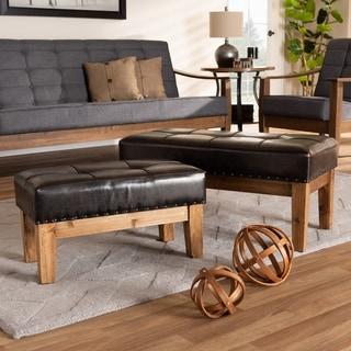 Rustic Dark Brown Faux Leather 2-Piece Ottoman Set