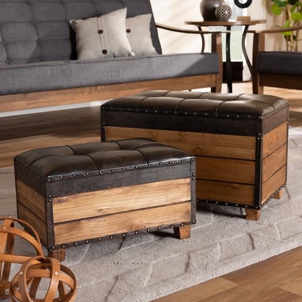 Shop Marelli 2 Piece Rustic Faux Leather Wood Storage