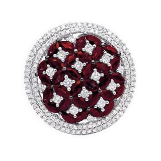 Ladies Halo Circle Right Hand Ring with Diamonds & Gemstone Ruby 14k Gold 3.5ctw by Luxurman