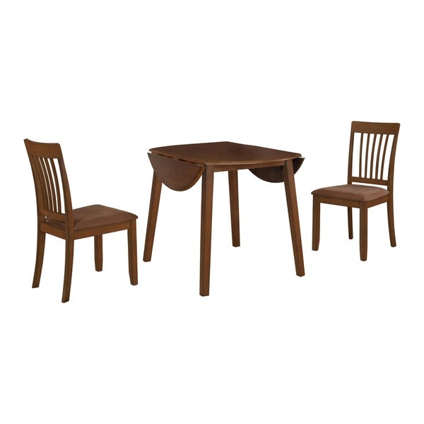 3Pcs Solid Oak Wood Small Space Dining Set