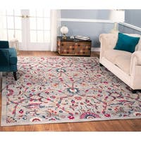 The Curated Nomad Nob Hill Distressed Beige/ Grey Floral Rug