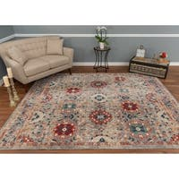The Curated Nomad Nob Hill Distressed Grey/ Ivory Medallion Rug