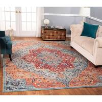 The Curated Nomad Nob Hill Distressed Green/ Rust Rug