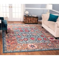 The Curated Nomad Nob Hill Distressed Blue/ Rust Rug