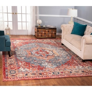 The Curated Nomad Nob Hill Distressed Rust/ Blue Rug