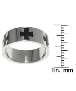Jewelry Trends Stainless Steel Black Maltese Cross Ring