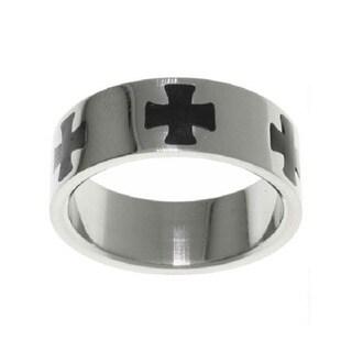 Carolina Glamour Collection Stainless Steel Black Maltese Cross Ring