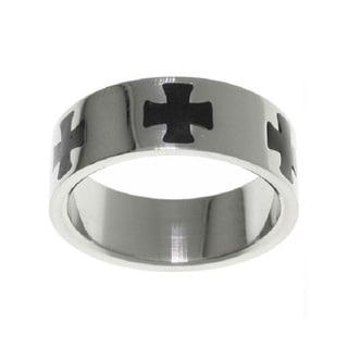Carolina Glamour Collection Stainless Steel Black Maltese Cross Ring