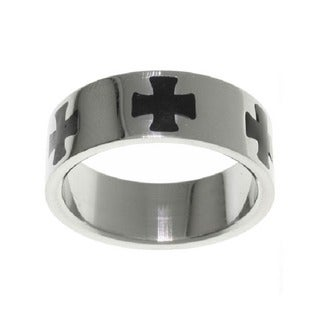 Carolina Glamour Collection Stainless Steel Black Maltese Cross Ring (5 options available)